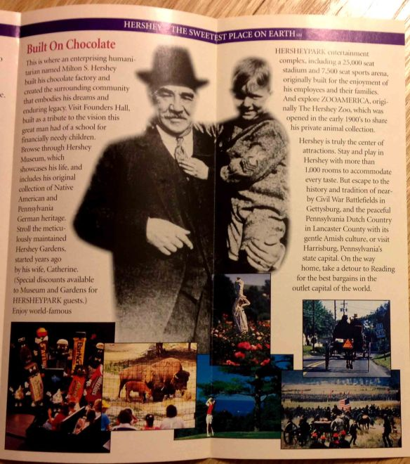 The other half of the brochure talks about other attractions around town and Milton Hershey's legacy.