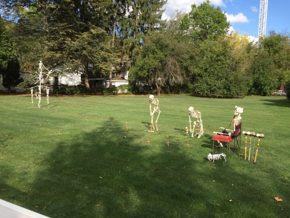Looks like the skeletons are enjoying the afternoon with a few lawn games.