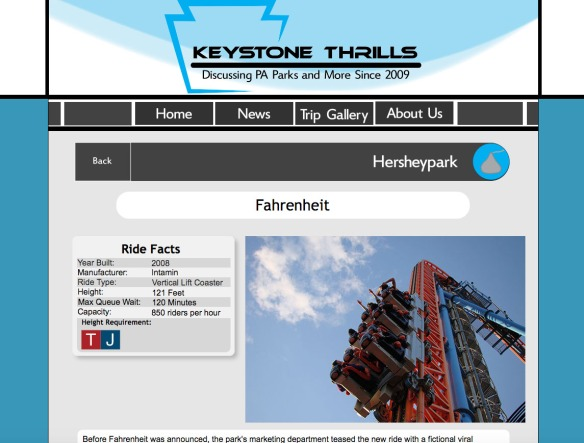 Here is an example on what the ride pages will look like. The Ride Info box will be the quick go-to spot for ride info with anything from the ear built to the ride height requirement. To the right will be the main ride photo.